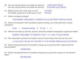 periodic table the le gases ppt equation for ionization energy