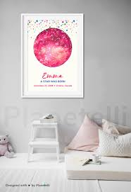 Birthday Sky Chart Birthday Gift Digital Personalized Star Map Download Custom