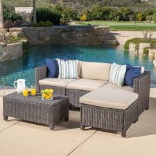 christopher knight home puerta grey outdoor wicker sofa set. Christopher Knight Home Outdoor Puerta 5-piece Wicker Sectional Sofa Set With Cushions | Overstock Grey A