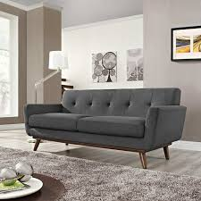 modway engage mid century modern upholstered fabric loveseat in gray at