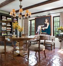 Designs Ideas:Spanish Dining Room With Round Wood Dining Table And Vintage  Chairs On Terracotta