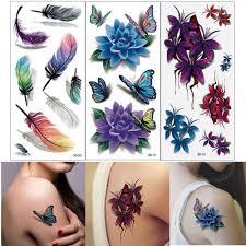 10 шт 3d временные татуировки цветы роза водостойкие боди арт Diy наклейки горячие