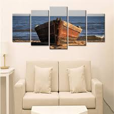 wooden boat on wood boat wall art with 5 panel canvas wall art wooden boat panelwallart