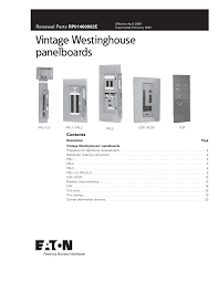 Westinghouse Circuit Breaker Cross Reference Chart Vintage Westinghouse Panelboards