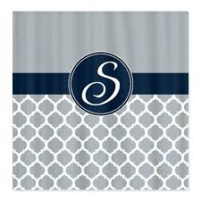 quatrefoil shower curtains custom curtain personalized with monogram initial navy blue grey white or choose colors