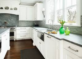 grey backsplash with white kitchen cabinet and natural stone kitchen countertop design for amazing kitchen ideas