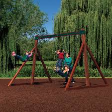 free standing swing set with 2 belt swings and a tze bar