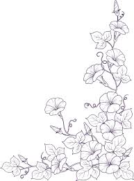 白黒モノクロの花のイラストフリー素材ライン線コーナー用no859