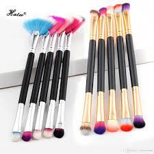 halu professional double end makeup brushes fan shape eye shadow blush single make up brush cosmetic brushes wood handle airbrush makeup cosmetics from