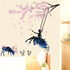 deer wall stickers pink erfly wall stickers swing girl decals tree flowers deer wall sticker decorative