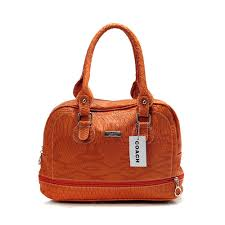 Coach Madison In Embossed Medium Orange Satchels DFF