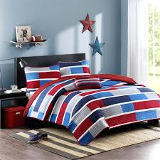 teenage duvet cover red navy blue striped teen boy bedding twin full queen quilt set masculine