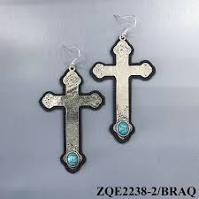details about boho style hammered silver leather cross pendant turquoise stone hook earrings