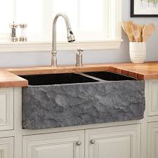 33 polished granite 70 30 offset double bowl farmhouse sink chiseled a