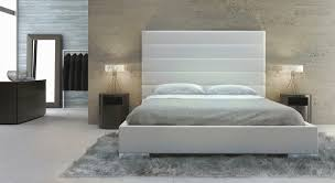 Tufted White Modern Bed With Upholstered Headboard