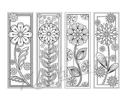Blooming Spring Coloring Bookmarks Page Instant Download Relax