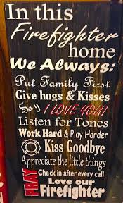 Firefighter Love Quotes Cool Firefighter Home Wall Saying Art Fireman Wood Sign Decor Pinterest