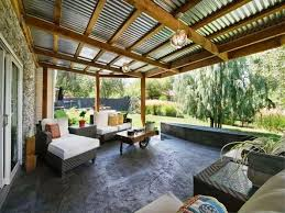 image of back porch cover corrugated metal roof