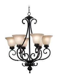 6 light chandelier w inverted bell amber glass shades bronze tone finish oliver