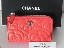 chanel key pouch. chanel leather camellia flower cc zip coin purse key ring card holder o case new chanel pouch