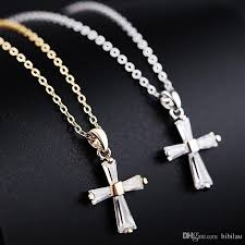 whole 212p small cz cross pendants necklace for women fashion jewelry gold plated 18k cubic zirconia 46cm chain gold name necklace mens gold chains from