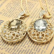 rhinestone crystal hollow out big oval pendant long necklace gold plated at banggood sold out