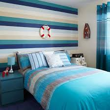 boys blue bedroom. Boys\u0027 Bedroom With Nautical Theme And Horizontal Striped Feature Wall Boys Blue