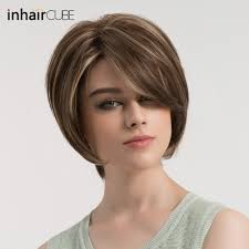 Esin Krátké Rovné Vlasy Paruka S Bočním Loučení Tmavě Hnědé Vlasy Na