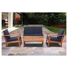 wood patio furniture. Laguna Beach 4-Piece Eucalyptus Wood Patio Set With Blue Cushions - Brown Furniture A