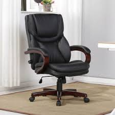 adjustable lumbar support office chair. Image Is Loading Executive-Desk-Chair-Black-Leather-w-Wood-Adjustable- Adjustable Lumbar Support Office Chair M