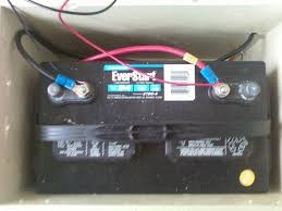 a small portable pv system for camping emergencies the battery is just a deep cycle battery from walmart and i have an automotive battery mount holding it in place i also have 8 holes drilled into the box