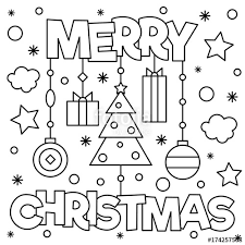 merry christmas coloring pictures.  Coloring Merry Christmas Coloring Page Vector Illustration In Christmas Pictures C