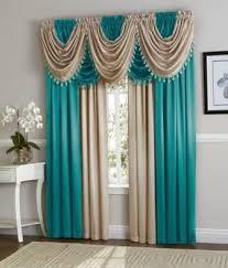 Black/Beige Hyatt Curtain Set | Long curtains, Valance and Window curtains