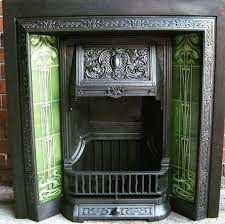 details of a green art nouveau fireplace tiles set ref 025 green set from our range of fl flowers foliage mantels surrounds in the art nouveau style