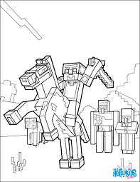 Small Picture Minecraft coloring page ride a horse to the horizon coloring