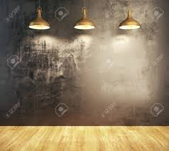 Wood Floor Gallery Minimalistic Grunge Room Interior With Empty Wall Illuminated With