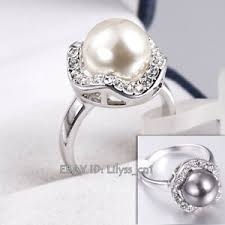 10mm Size Chart Details About A1 R185 Solitaire 10mm Black White Pearl Ring 18kgp Rhinestone Size 5 5 9