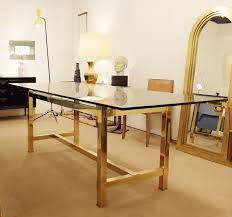 large rectangular dining table smoked glass and brass legs desk table furniture via antica