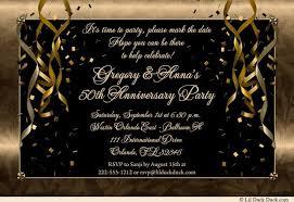 50th Anniversary Party Invitations Festive 50th Anniversary Party Invitation Gold Streamer