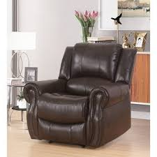 Shop Abbyson Bradford <b>Brown Faux</b> Leather Reclining <b>Armchair</b> ...