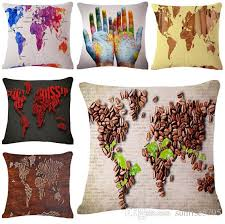 Small Picture Colorful World Map Cushion Cover Shabby Chic Throw Pillow Case