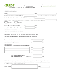 Scholarship Aplication Form Free 9 Sample Scholarship Application Forms Pdf