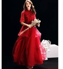 <b>Its Yiiya Evening Dress</b> Red Embroid Lace Standing Colla in 2019 ...