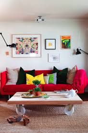 scandinavian chic red couch decor