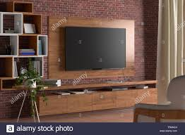 Led Wooden Wall Design Tv Screen On The Wall With Wooden Plate Above The Cabinet In