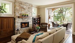 stone fireplace with beautiful mantel decorating ideas barn style living room with exposed brick wall