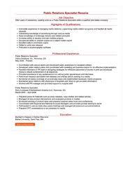 Public Relations Specialist Resume Great Sample Resume