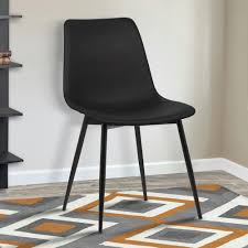 black faux leather and black powder coated finish contemporary dining