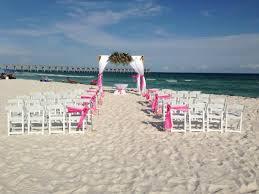 beach wedding chairs. Beach Wedding White Garden Chairs And Bamboo Arbor On The E
