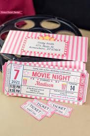 Movie Night Invitation Printables Movie Ticket Stub Invite Vintage